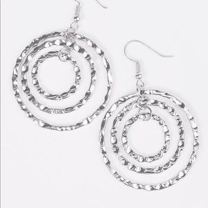 Hammered Silver-toned Triple Circle Earrings